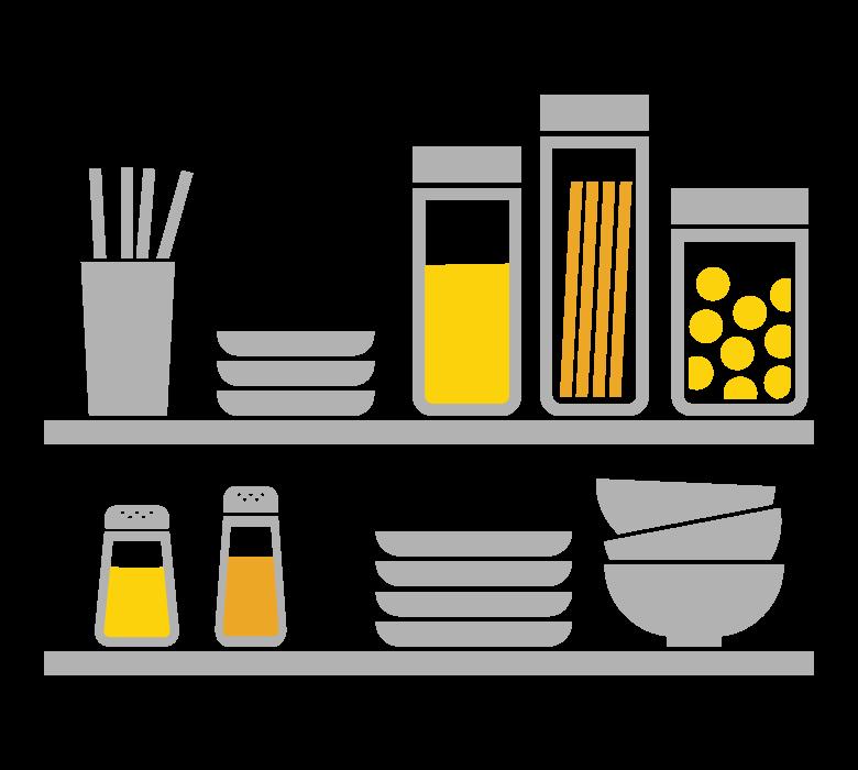 キッチン/お皿/調味料のイラスト