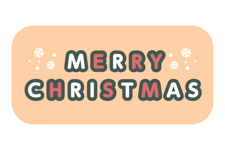 ポップなタッチの「MERRY CHRISTMAS」の文字イラスト