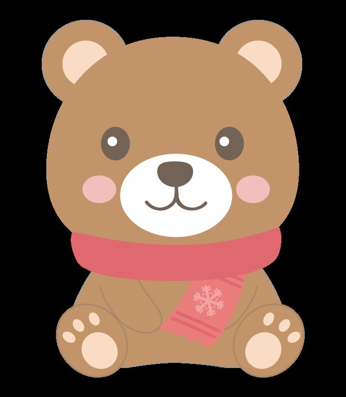マフラーを付けたかわいいクマのイラスト