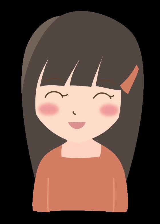 ロングヘアーの笑顔の女性のイラスト