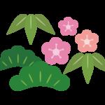 梅と松のお正月イラスト
