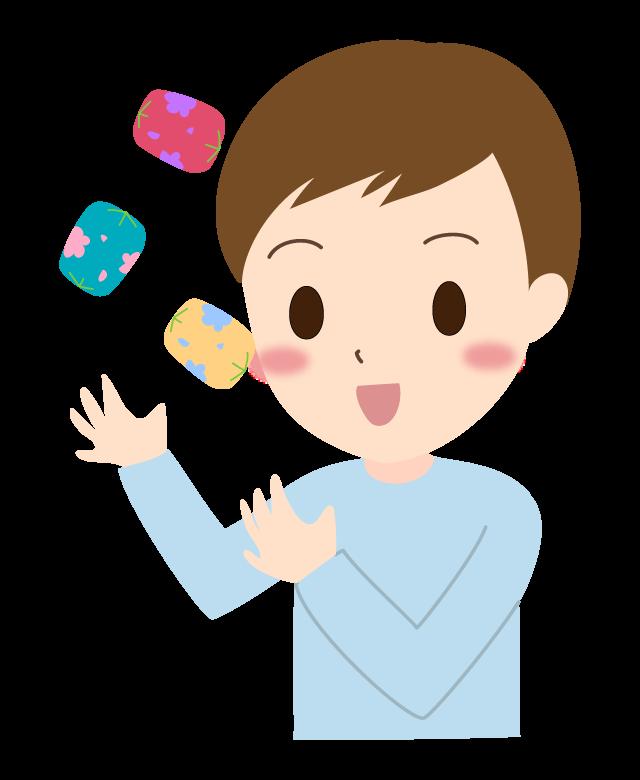 お手玉をする男の子のイラスト