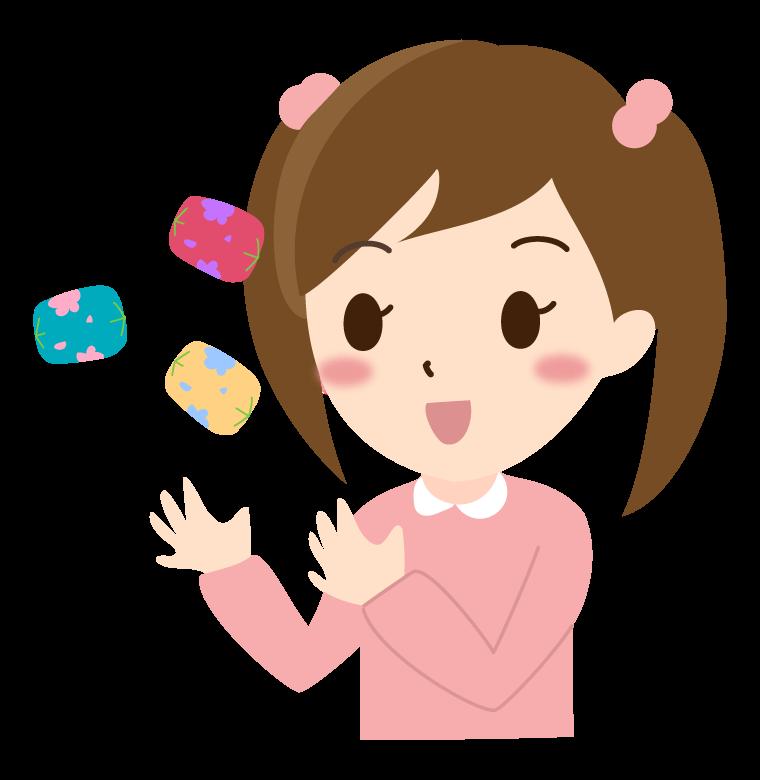 お手玉をする女の子のイラスト