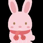 マフラーをしたかわいいウサギのイラスト