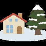 お家と雪が積もったもみの木のイラスト