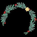 星が付いたシンプルなクリスマスフレーム・飾り枠イラスト