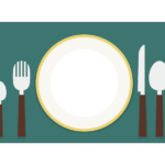 テーブル/お皿/ナイフ/フォークのイラスト