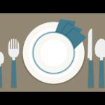 テーブル/お皿/ナイフ/フォークのイラスト02