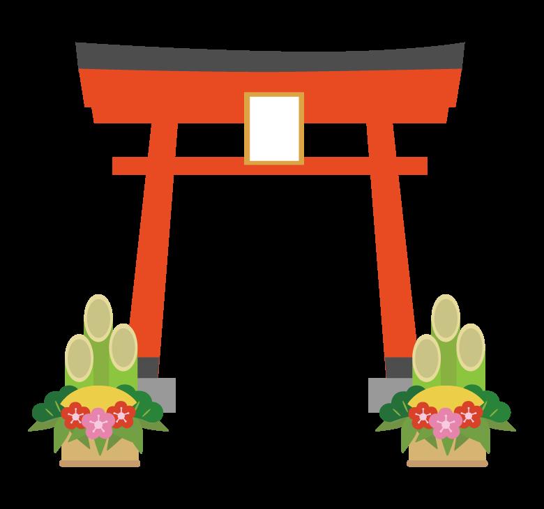 鳥居と門松のイラスト