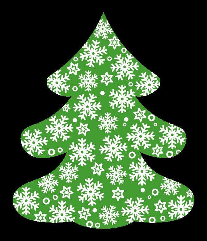クリスマスツリーと雪の結晶のイラスト
