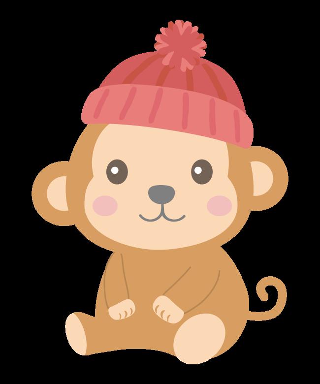 毛糸の帽子をかぶったかわいいお猿さんのイラスト