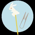 うさぎの飴細工のイラスト