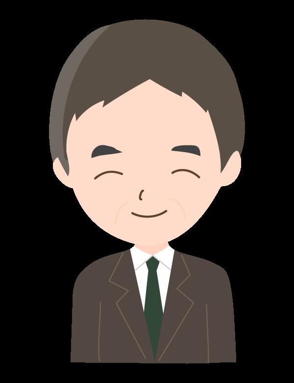 笑顔の年配の会社員のイラスト