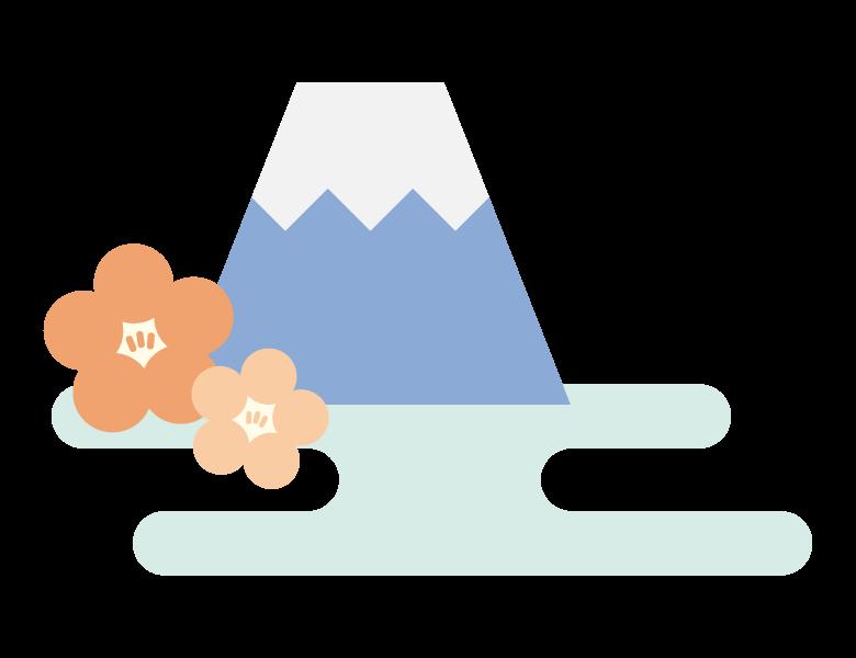 梅と富士山のイラスト