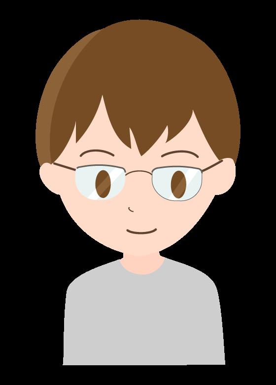 メガネをした笑顔の男性のイラスト