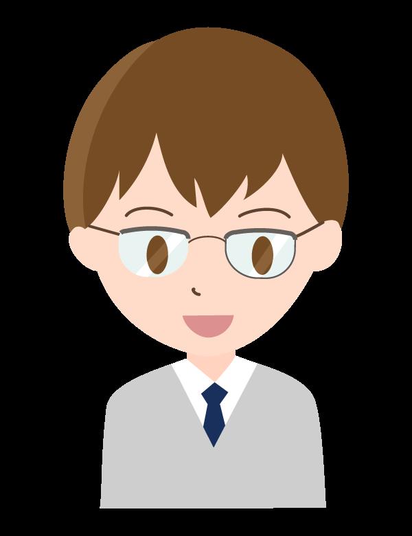 メガネをした若い会社員のイラスト