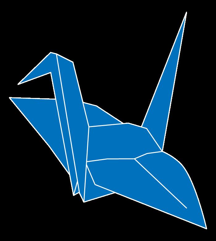 青い折り鶴のイラスト