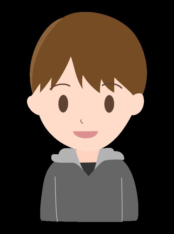 パーカーを着た若い男性のイラスト