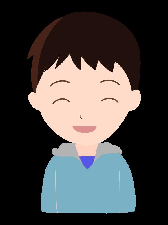 パーカーを着た笑顔の若い男性のイラスト