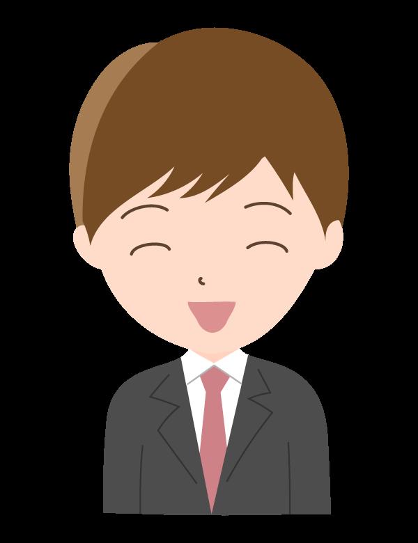 ニッコリ笑顔の会社員のイラスト