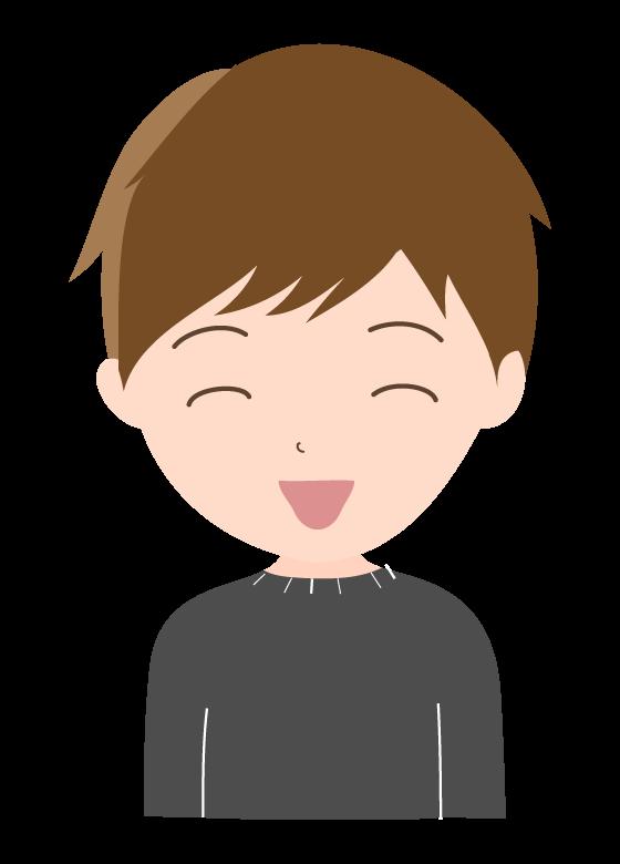 笑顔の若い男性のイラスト