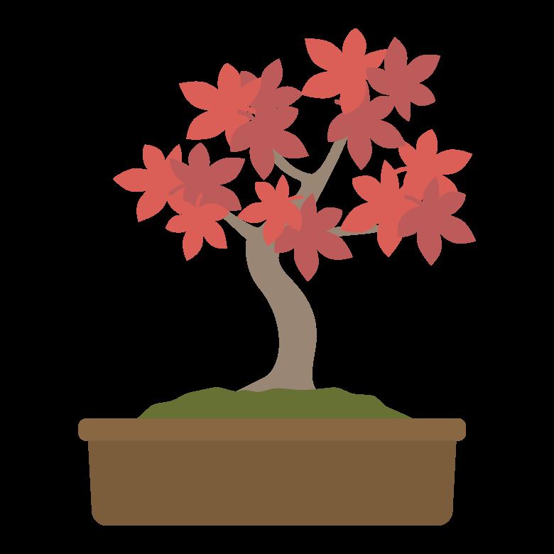 赤い葉の盆栽のイラスト