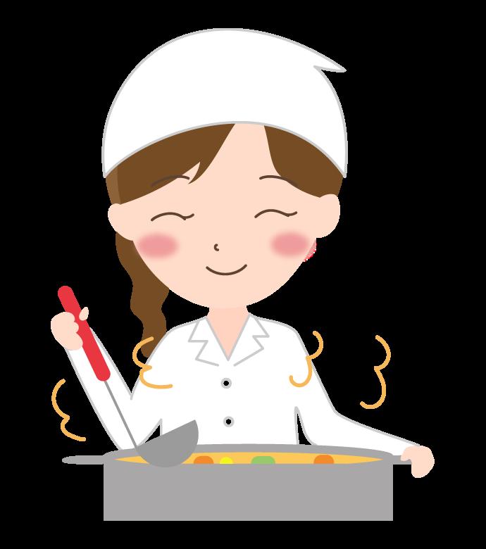 料理を作っている調理師さんのイラスト