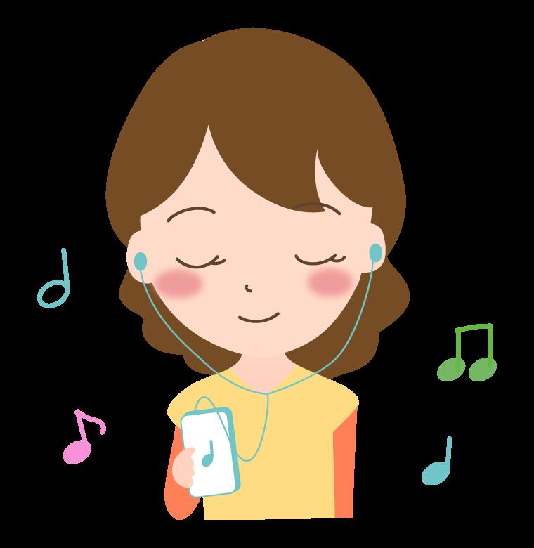 イヤホンで音楽を聴いている女性のイラスト
