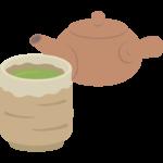 急須と緑茶/お茶/日本茶のイラスト02