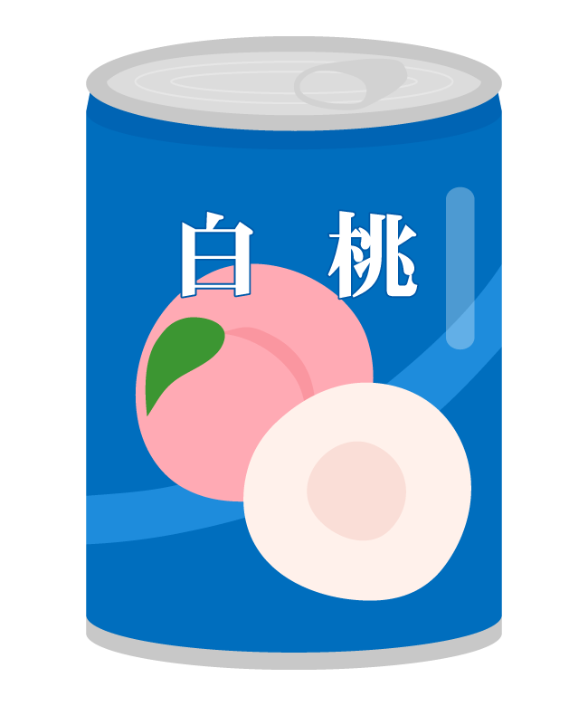 白桃の桃缶のイラスト