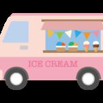 アイスクリームの移動販売車のイラスト