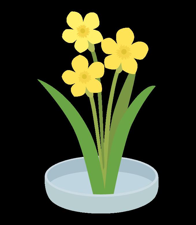 黄色い花の生け花のイラスト