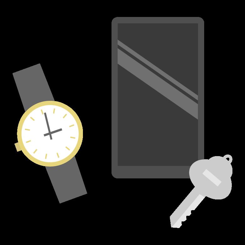腕時計/スマホ/鍵などの貴重品のイラスト