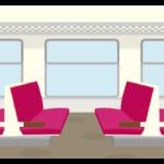 ローカル電車の車内のイラスト