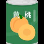 黄桃の桃缶のイラスト