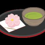 桜の和菓子とお茶のイラスト