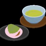 桜もちとお茶のイラスト