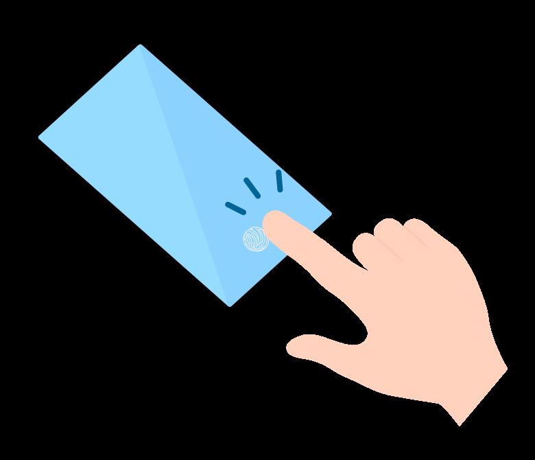 スマホの指紋認証のイラスト02