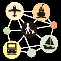 旅行の乗り物/交通イメージのイラスト