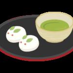 うさぎの和菓子とお茶のイラスト