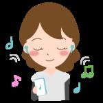 ワイヤレスイヤホンで音楽を聴く女性のイラスト