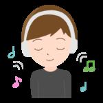 ワイヤレスヘッドホンで音楽を聴く男性のイラスト