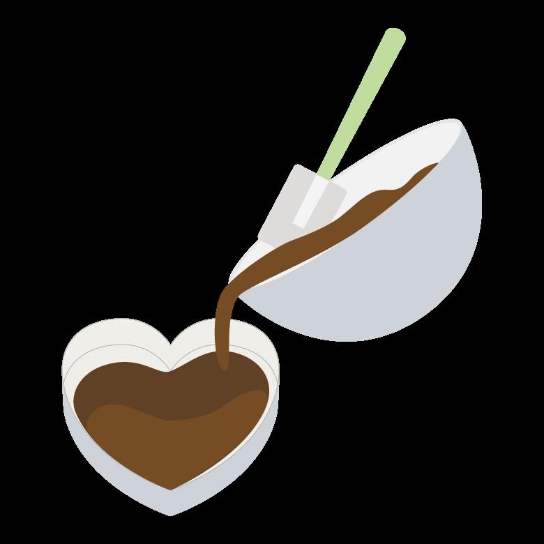 ハートの型取りをしているバレンタインチョコのイラスト