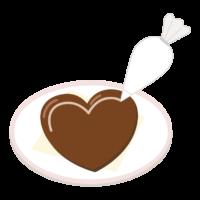 ハートの手作りバレンタインチョコのイラスト