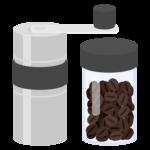 アウトドア用コーヒーミルとコーヒー豆のイラスト