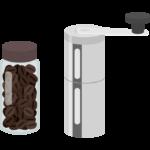 アウトドア用コーヒーミルとコーヒー豆のイラスト02
