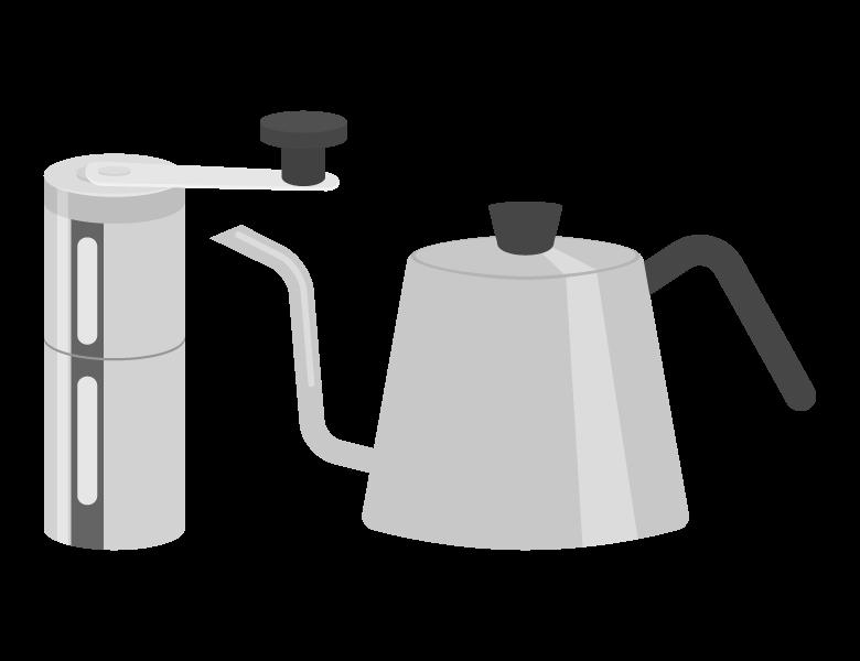アウトドア用コーヒーミルとケトルのイラスト