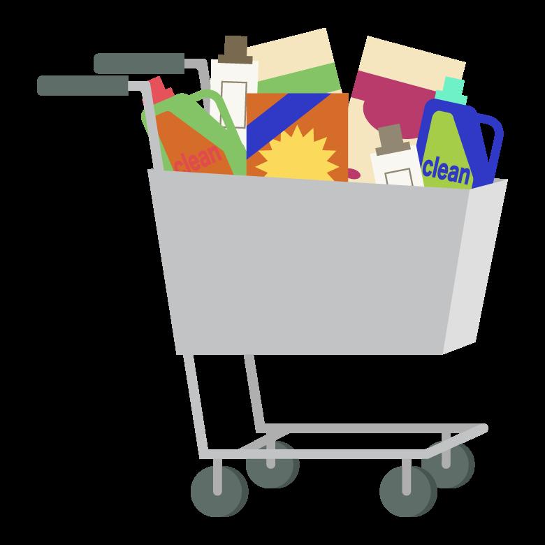 日用品雑貨とショッピングカートのイラスト