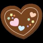 デコレーションしたハートのバレンタインチョコのイラスト