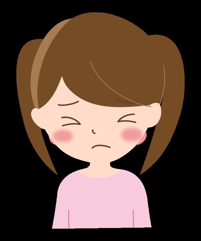 悲しい表情の女の子のイラスト